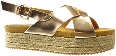 Angkorly - Zapatillas de Moda Sandalias alpargatas zapatillas de plataforma mujer tanga Hebilla Talón Plataforma 5 CM - Champán