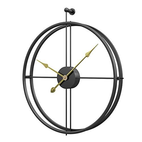 Jo332Bertram Vintage Wanduhr, XXL Groß Wanduhr Uhr Metall Ohne Tickgeräusche Dekorative Wanduhr für Küche Wohnzimmer Büro - Schwarz