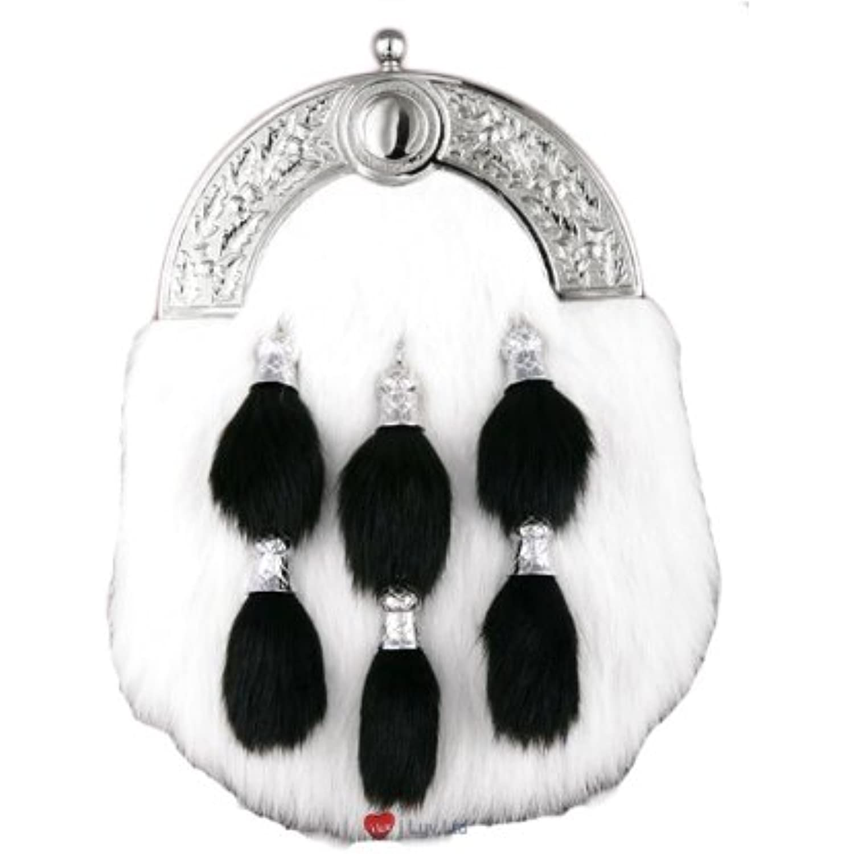 Dress Celtic Sporran White 6 Black Tassels Celtic Dress Brch Black  Parent 7003ea