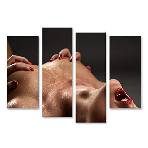 bilderfelix® Bild auf Leinwand Orgasmus Konzept. Sexy dünne Frau drückt ihre Brüste, Nahaufnahme zusammen Wandbild, Poster, Leinwandbild NTD - Modernes Schlafzimmer In Der Brust