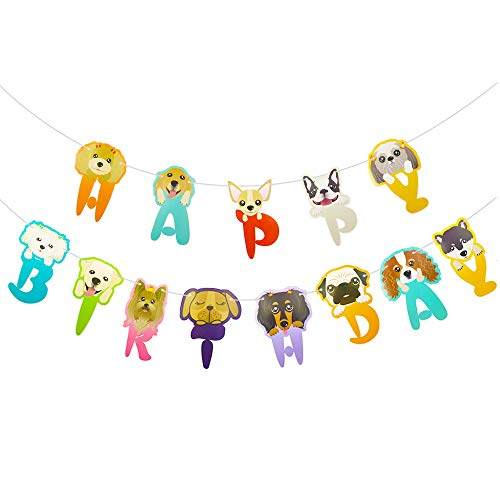 s-Girlande, lustige Cartoon-Hundegesichter, Happy Birthday Banner, Bday Party Wimpelkette Dekoration Haustier Geburtstag Party Dekoration ()