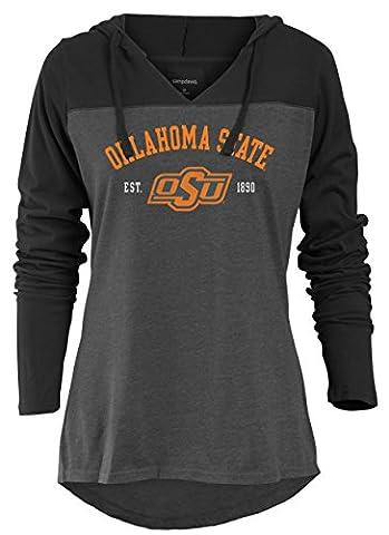 NCAA Oklahoma State Cowboys Women's Color Block Long Sleeve Hoodie, Medium, Charcoal Heather