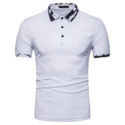 Junge Shirt Western (Herren Slim Fit Polo Shirts Kurzarm T-Shirt Top Sweatshirt Männer Sommer Poloshirt Hemd Knopf Camouflage Freizeit Hemd Sommerhemd (L, Weiß))