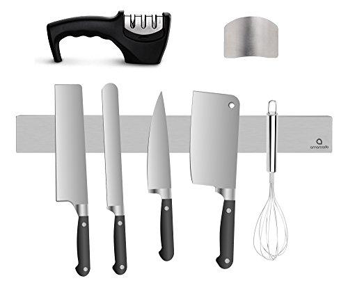 Amarcado Porte-Couteaux magnétique 40 cm, Aiguiseur de Couteaux et Protège Doigts Kit - Barre à Couteaux aimantée en Acier Inoxydable/INOX - Support Range Couteaux - Lot d'accessoires de Cuisine