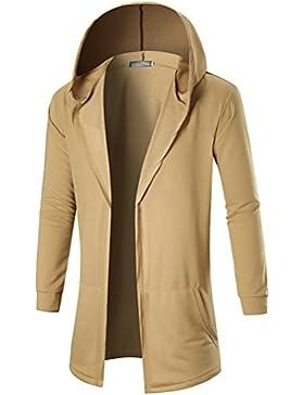 Zhhlinyuan Mens chicos Junior Outdoor Long Plain Front Opening Sweatshirt Cardigan Cárdigan Hoodie Hooded Jacket...