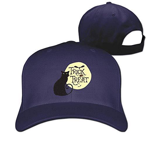 Classic Cotton Hat Adjustable Plain Cap, Trick Treat Cat Plain Baseball Cap Adjustable Size Curved Visor Hat 474