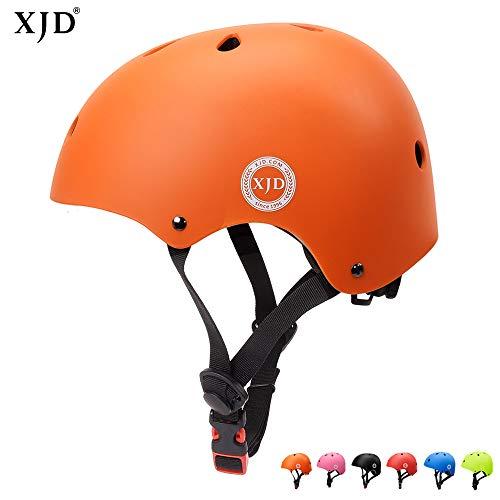XJD Verstellbar Kinder Helm Sporthelm Fahrradhelm mit Luftlöcher für Fahrrad Motorrad Skateboard Schifahren 3-13 Jahres Junge Mädchen (Orange)
