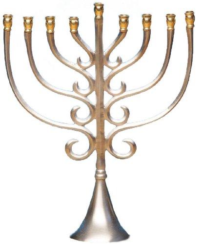 Biedermann & Sons Nickel Messing Traditionelle Hanukkah Menora, 25,4cm hoch