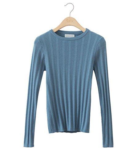 JOTHIN 2017 Donna Autunno Girocollo Minica lunga Tinta Unita Maglieria Slim Fit Casual Basic Sweatere leggero Strisce Elasticizzate Maglioni. Blu