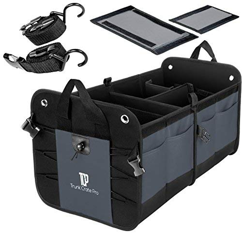 TrunkCratePro Multi Compartments Collapsible Portable Trunk Organizer for auto, SUV, Truck, Minivan (Charcoal. Gray) Version