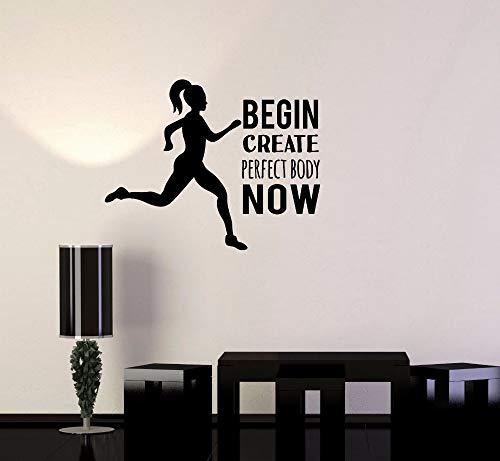 GUDOJK Wandaufkleber Vinyl Wall Decal Beginnen Sie erstellen perfekten Körper jetzt Bewegung motivierende Anweisung Ro Aufkleber ausführen