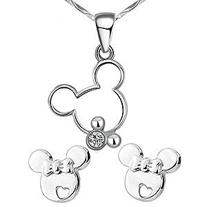 findout Sterling Silber Hohle Mickey Mouse Nette hängende Halskette + Ohrringe .für Frauenmädchen Eingestellt. (S1480)