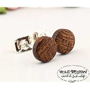 Ø6mm Holz Ohrstecker Ged. Mahagoni Mini Kleine Fake Plugs Ohrringe hölzerne Mini Ohrring kleine runde Holzohrstecker wooden earrings wood post studs