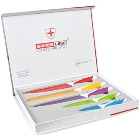 SET 5+1 CUCHILLOS ACERO COLOR SWISS LINE