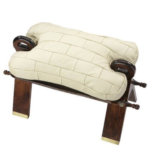 Unbekannt Hocker Kamelhocker mit Kissen aus echtem Leder beige Echtholzgestell