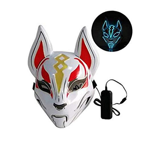 chenut Kalt licht Maske Charmante Fuchs Maske Maskerade Maske Karneval Halloween Maske Cosplay Party Kostüm Zubehör Kein Ultraviolett LED Beleuchtung Maske (Fuchs Maske Kostüm)