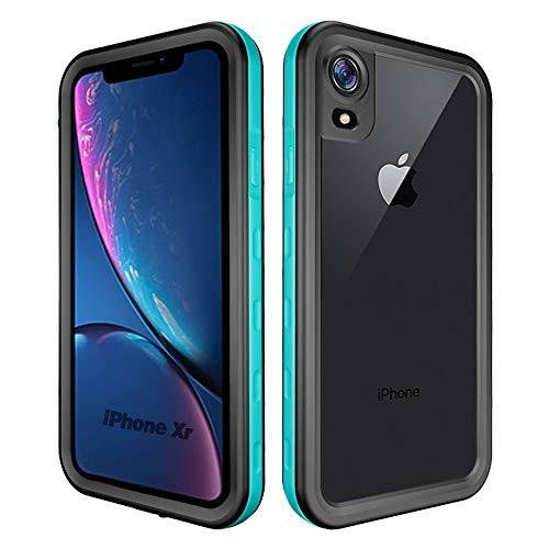 NewTsie iPhone Xr Wasserdicht Stoßfest Hülle, IP68 Zertifiziert Schutzhülle Staubdicht Wireless Charging mit Eingebautem Schutzfilm für iPhone Xr 2018 Released (6.1 inch) (T-Blau)