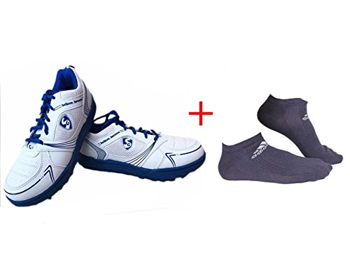 SG Shield X1 Rubber spikes Cricket Shoes with 2 Pair of Adidas Socks (White/Blue, UK 3)  available at amazon for Rs.797