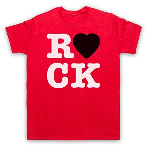 I Love Rock Slogan Herren T-Shirt Rot