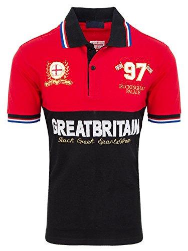 Rock Creek Herren Poloshirt T SHIRT Gr.M-4XL Rot-Schwarz