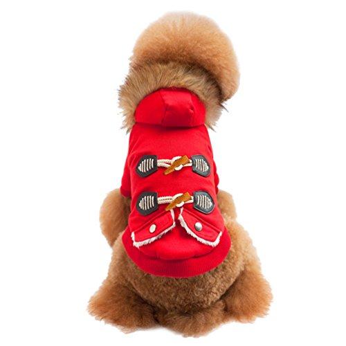 Imagen de jitong chaqueta con capucha para mascota perro gato disfraz de alineación ropa invierno otoño para perrito rojo, 44*27*30 cm