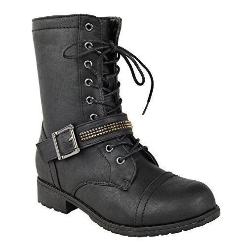 NEW LADIES WOMENS FLAT LOW HEEL LACE UP ARMY MILITARY BIKER ZIP...