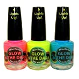 Mia Secret Glow In The Dark Neon Nail Lacquer Nail Polish 3pcs Set Neon Blue,Neon Hot Pink, Neon Yellow ( 0.5 oz bottles)