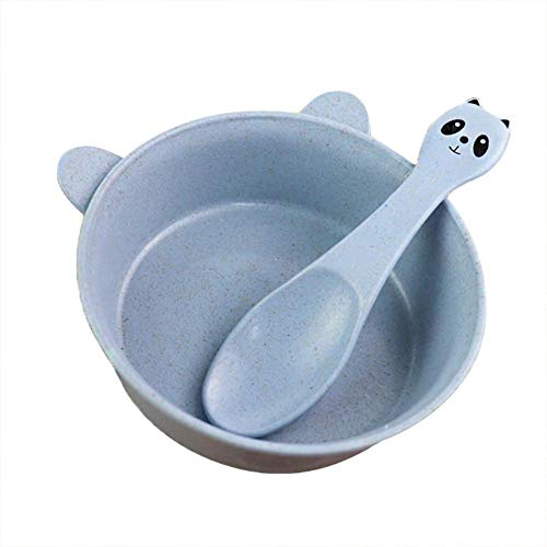 2 Stück Baby Geschirr Sets Schüssel mit Löffel Cartoon Panda Form Lebensmittel PP Weizenstroh Material für Kleinkind Kinder und Kleinkinder