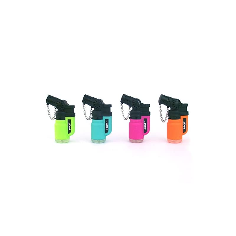 Prof Angled Neck, Blowtorch, Windproof, Electronic, Refillable, Jet Lighter, Gas Turbo, Red, Blue, Green, Black,