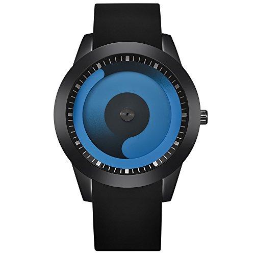 JiaMeng Amistad Pulsera Reloj Deportivo de Cuarzo analógico de Acero Inoxidable de Lujo para Hombre de Moda(Negro A)