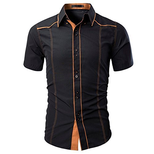 moonuy T-Shirt farblich für Hemd Herren Kurzärmliges Hemd Sommer Frühling Short Sleeve Shirt Top Damen Bluse der Mode Kostüm gelegentlichen Slim Men Shirts, L, Schwarz, 0