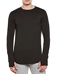 Gritstones Black Round Neck Full Sleeves Thumbhole T-Shirt For Men GSFSTSHT1505BLK