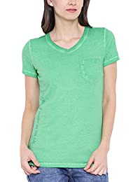 Wolfpack Green Round Neck Half Sleeves Organic 100% Cotton T Shirt for Girls/Womens - Feel The Green Grass
