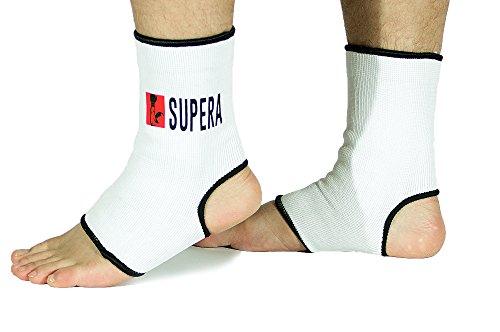 SUPERA Fußbandage - elastisch Fußgelenkbandage für MMA, Martial Arts, Muay thai Kickboxen 1 Paar – auch für andere Sportarten wie Handball Fußball Laufen - Stützbandage Knöchelbandage Sprunggelenkbandage - (Größe L weiß)
