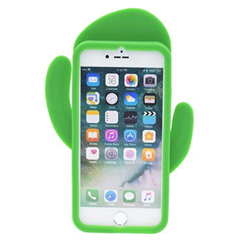 "iPhone 7 4.7"" Hülle, BENKER Hochwertig Schlagfeste und Kratzfeste Weich Silikon Kreativ 3D Cartoon Telefon Fall - Regenbogen Kaktus 2#"