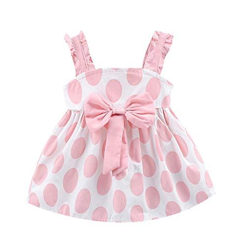 MEIbax Sommerkleid Kleinkind Baby Mädchen Kinder Strap Bow Dot Print Prinzessin Kleider Babybekleidung T-Shirt Minikleid
