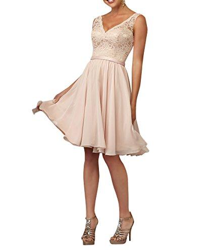 La_mia Brau Elegant Knielang Spitze Kurzes Abendkleider Brautjungfernkleider Jugendweihe Kleider Partykleider V-ausschnitt-58 Perlen Rosa