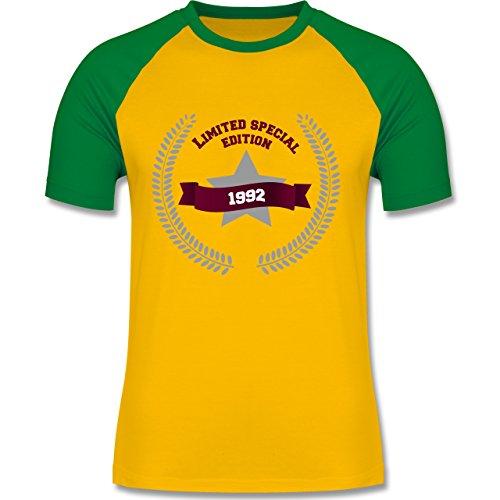 Geburtstag - 1992 Limited Special Edition - zweifarbiges Baseballshirt für Männer Gelb/Grün
