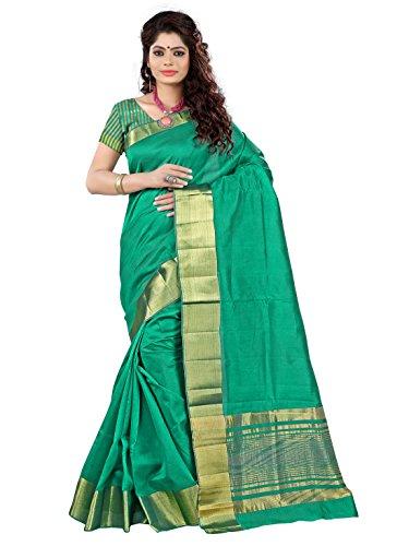 e-VASTRAM Women's Tassar Silk Saree (TAG_Green)