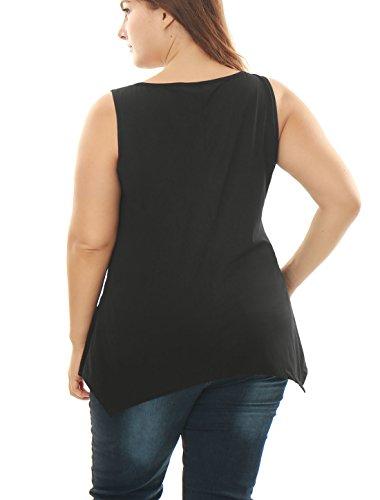 Sourcingmap Agnes Orinda Femmes Grande Taille Ourlet Asymétrique Tunique Poche Lettre Débardeur Black