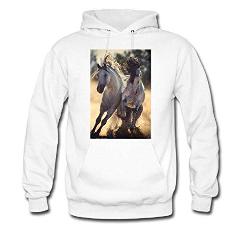 HKdiy Horses run Custom Men's Classic Hoodie White