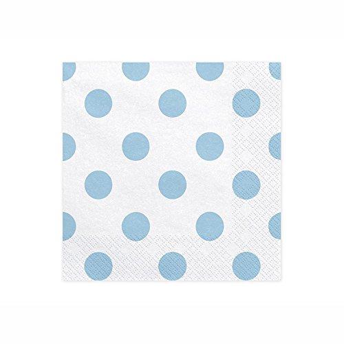 Luck and Luck Servilletas de papel de la suerte y la suerte, diseño de lunares, 33 x 33 cm, color azul