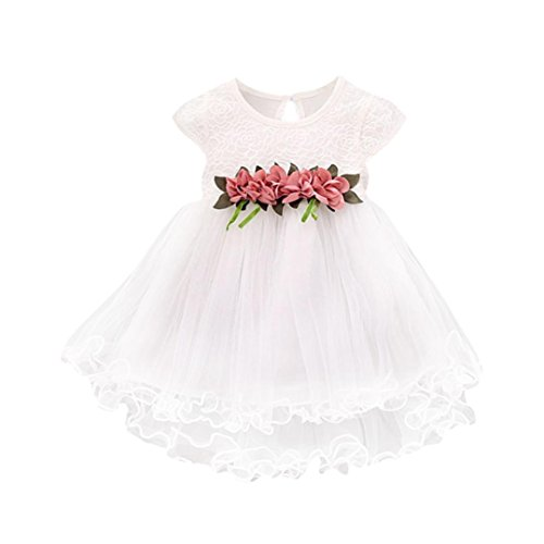 (Amlaiworld Baby bunt Blumen Dekoration Party Kleider niedlich Mode Prinzessin Tütü locker Mehrschichtig röcke Sommer Hochzeit mädchen süße t-Shirt Kleid, 0-24Monate (12 Monate, Weiß))
