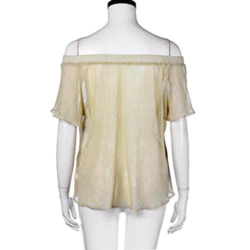 Bekleidung Longra Damen Bluse Schulterfrei Kurzarm Sommer Bluse Shirt Tops Yellow