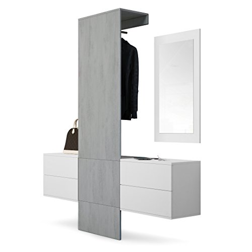 Garderobe Wandgarderobe Carlton Set 3, Korpus in Weiß matt / Paneel in Beton Oxid Optik