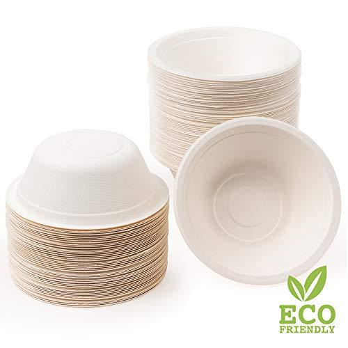 100 Cuencos de Papel de Caña de Azúcar Desechables, 350ml - Ecológicos Biodegradable Compostable  Resistente e Impermeable - Apto para Microondas - Alternativa Natural al Plástico.
