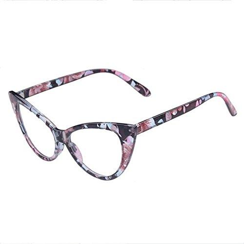 Z&YQ klar Linse Brille Flieger Spiegel Myopie Katze Auge Rahmen Mode Brillen , white flower