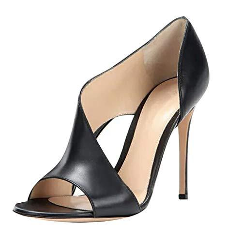 mxjeeio Damen Sandalen mit hohen Absätzen Damen High Heel Sandaletten Riemchen Gekreuzten Hochzeit Abend Sandalen Größe
