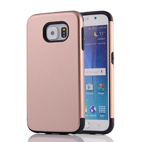 YHUISEN Galaxy S6 Case, 2 In 1 PC + TPU Dual Layer Rüstung Hybrid Schutz Schock Absorption Hard Back Cover Case für Samsung Galaxy S6 ( Color : Rose Gold ) Rose Gold