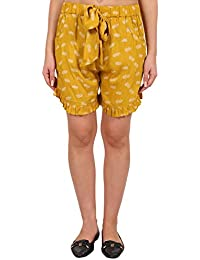 9teenAGAIN Women's Rayon Printed Nightwear Shorts(Yellow)